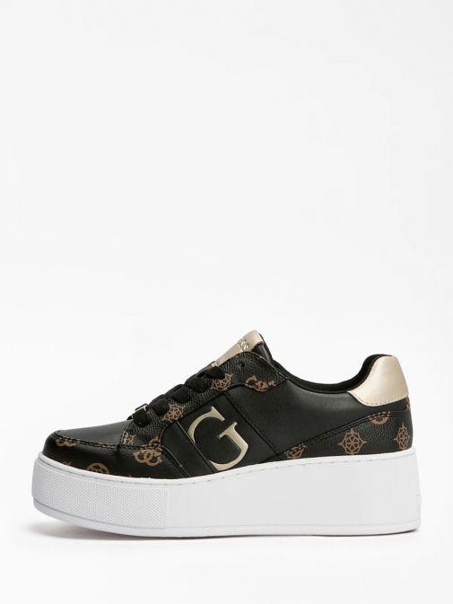 Side on shot of Guess Neiman 4G Logo Sneaker in Black Multi
