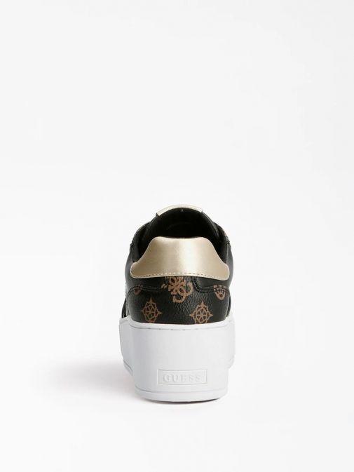 shot of heel of Guess Neiman 4G Logo Sneaker in Black Multi