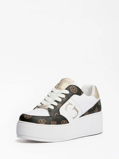Side angle of Guess Neiman 4G Logo Sneaker in White Multi