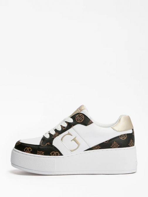 Side image of Guess Neiman 4G Logo Sneaker in White Multi