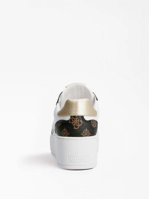 Image of heel of Guess Neiman 4G Logo Sneaker in White Multi