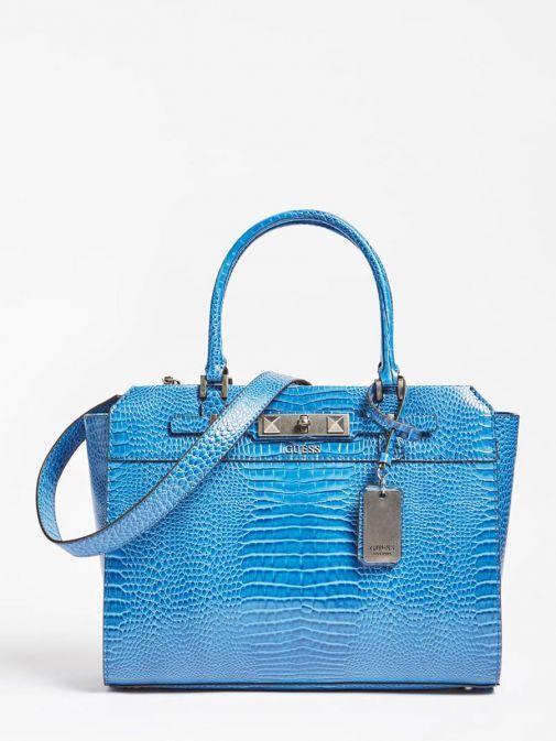 Front image of Guess Raffie Croc Print Handbag in Royal Blue