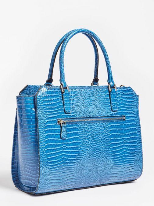 Side image of Guess Raffie Croc Print Handbag in Royal Blue