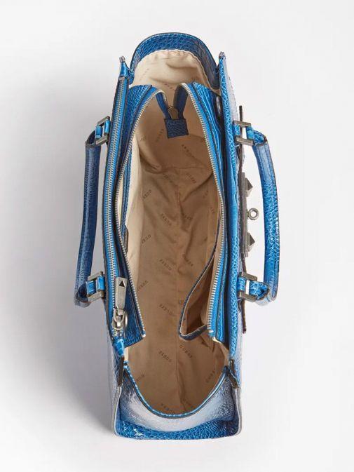 Aerial image of Guess Raffie Croc Print Handbag in Royal Blue
