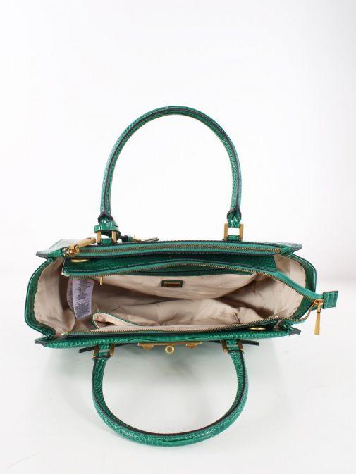 Image of inside of Guess Raffie Croc Print Handbag in Royal Green