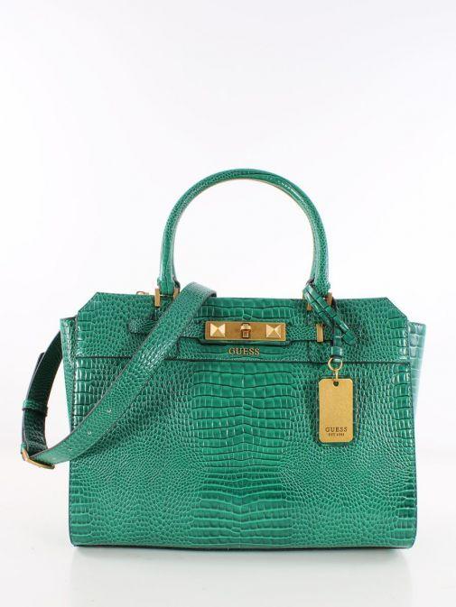 Front image of Guess Raffie Croc Print Handbag in Royal Green