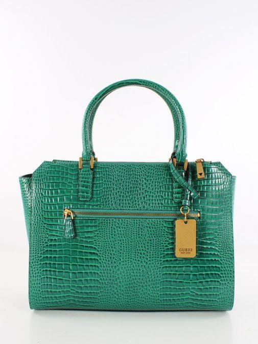 Back image of Guess Raffie Croc Print Handbag in Royal Green