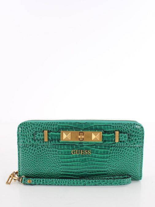 Front image of Guess Raffie Croc Print Maxi Wallet in Green