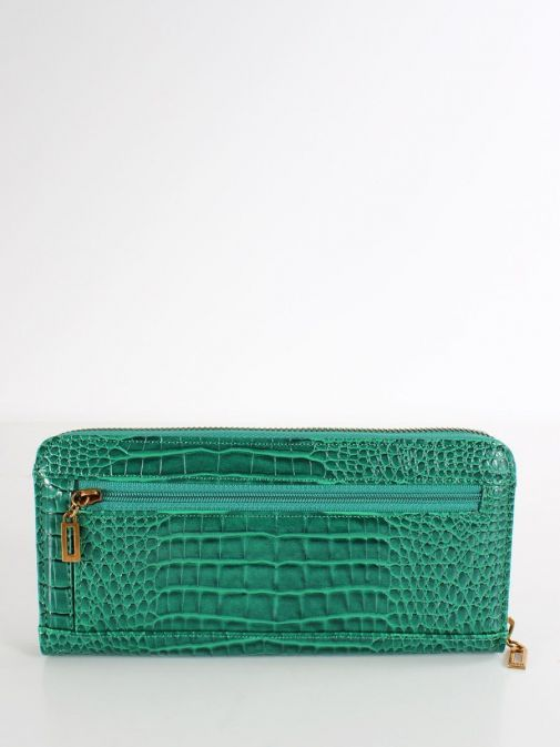 Back image of Guess Raffie Croc Print Maxi Wallet in Green