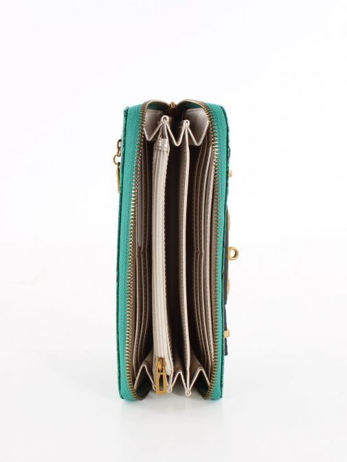 Inside image of Guess Raffie Croc Print Maxi Wallet in Green