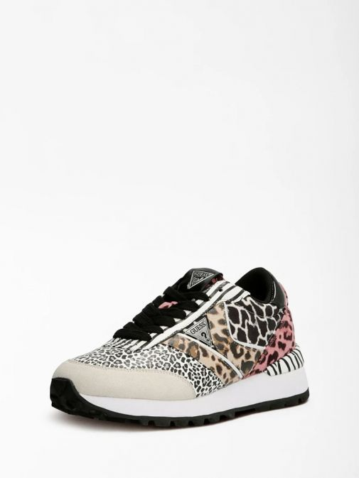 Side angle shot of Guess Samsin Animalier Running Shoe in Multi colour