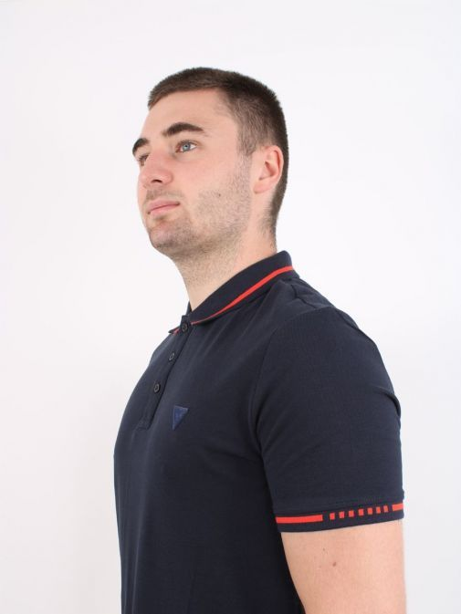 Front shot of Guess Slim Fit Polo in Navy