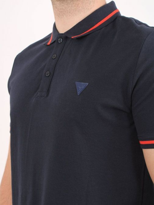 Close up shot of Guess Slim Fit Polo in Navy