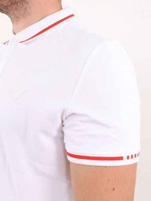 Close up of Guess Slim Fit Polo in White