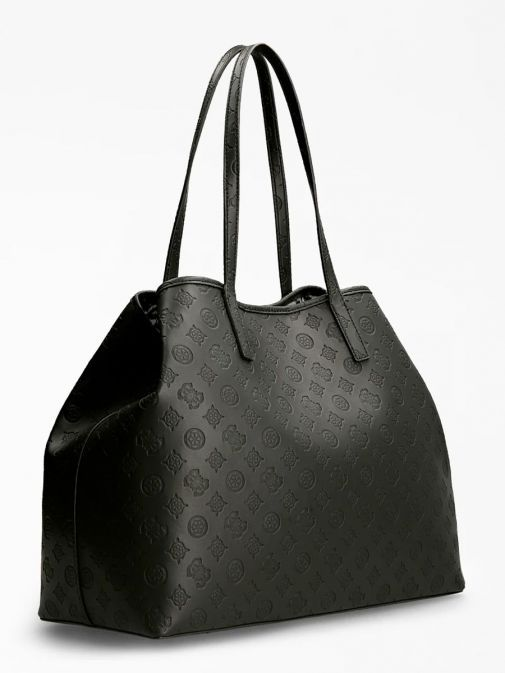 back shot of the Guess Vikky Embossed Logo Maxi Shopper in the Black featuring zip pocket,  guess logo and branding all over.