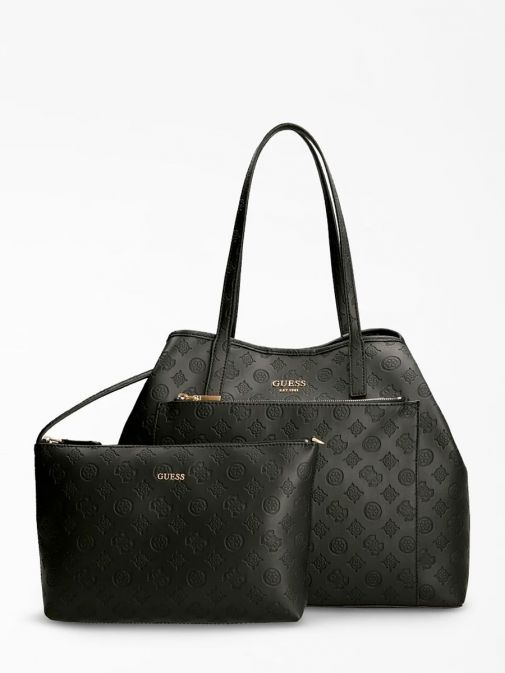 front shot of the Guess Vikky Embossed Logo Maxi Shopper with Pochette bag in the Black featuring zip pocket,  guess logo and branding all over.