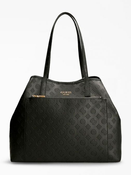 front shot of the Guess Vikky Embossed Logo Maxi Shopper in the Black featuring zip pocket,  guess logo and branding all over.