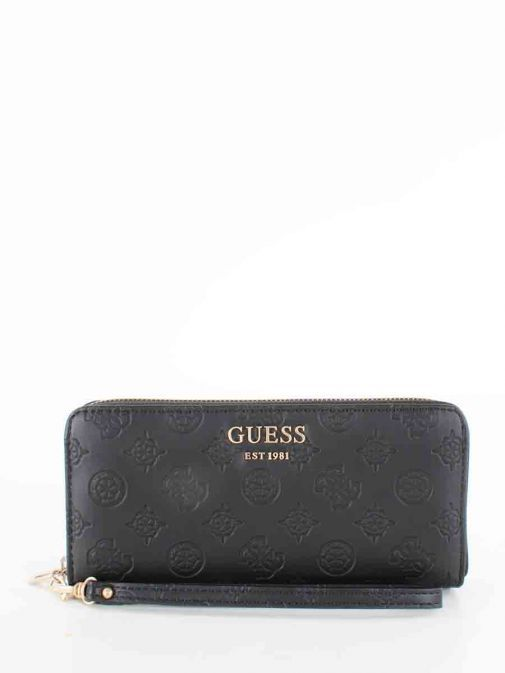 Front image of Guess Vikky Embossed Logo Wallet in Black