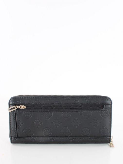 Back image of Guess Vikky Embossed Logo Wallet in Black
