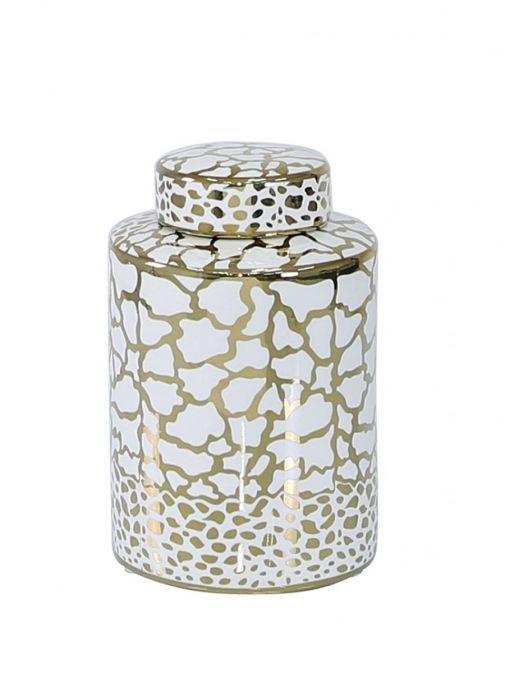 Medium 20.6cm White & Gold Ginger Jar gw2140-l0-whgd-n-a