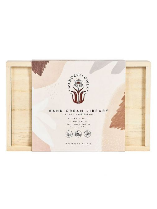 Front shot of the Hand Cream Library Wooden Gift Box