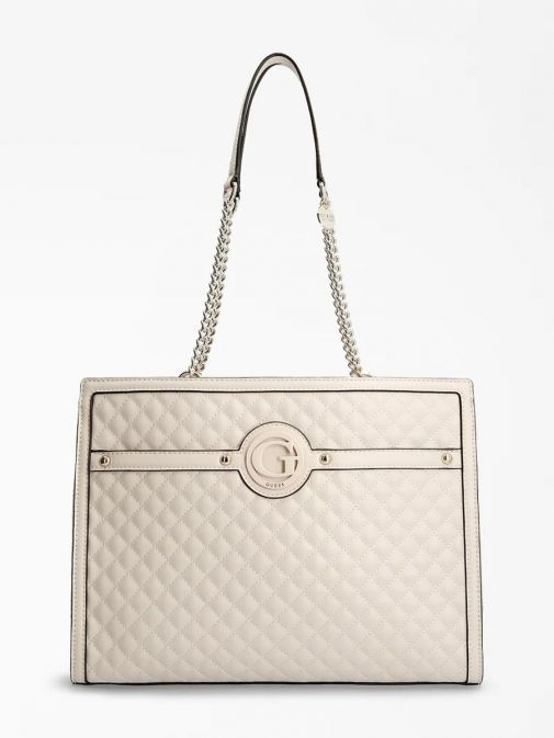 Front image of Guess Heyden Quilted Shopper in Stone