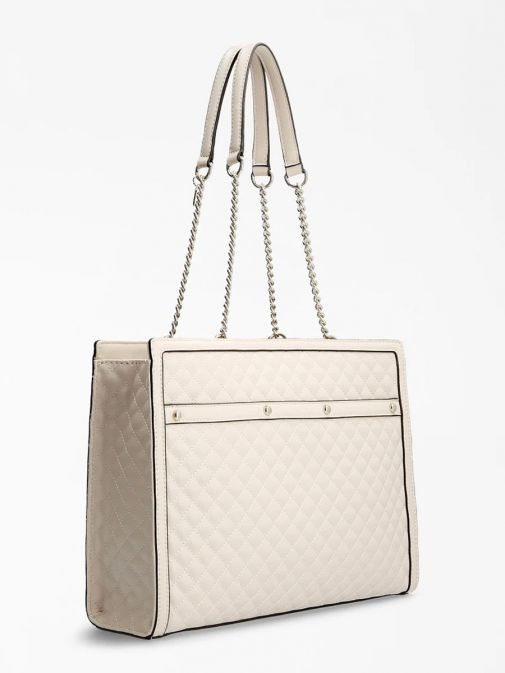 Back image of Guess Heyden Quilted Shopper in Stone