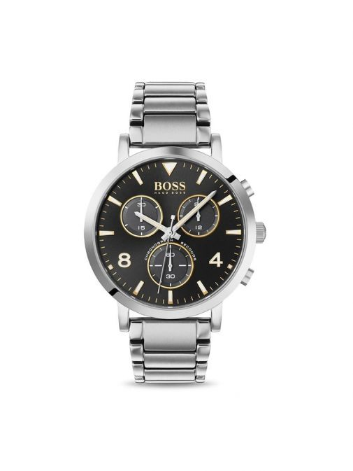 Front shot of the Hugo Boss Contemporary Sport Watch with Silver strap and black clock face