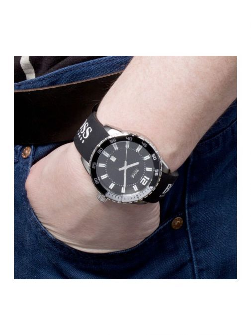 model shot of the Hugo Boss Rubber Strap Watch in the Black colour featuring black clock face