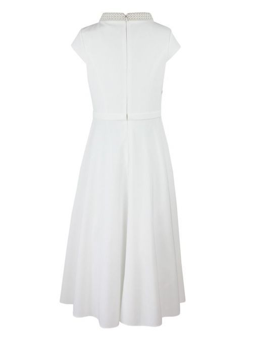 Front shot of Invitations by Veni for Ronald Joyce Capped Sleeve Pearl Detail Dress in ivory, Style 29341