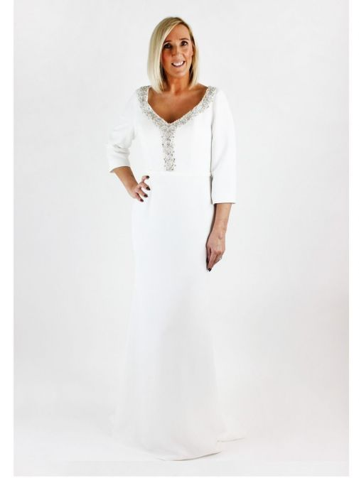 Front shot of Invitations by Veni for Ronald Joyce Embellished Neckline Dress in Ivory, Style 29342L