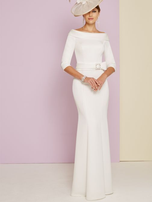 Front shot of Invitations By Veni for Ronald Joyce Bateau Neckline Fishtail Dress in Ivory, Style 29347L