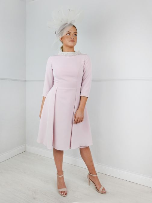 Cilento model wearing Invitations by Veni for Ronald Joyce Pearl Neckline Dress in Blush, Style 991502C