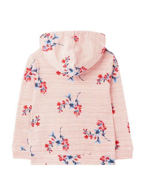 Back shot of Joules Floral and Stripe Hoody in Red