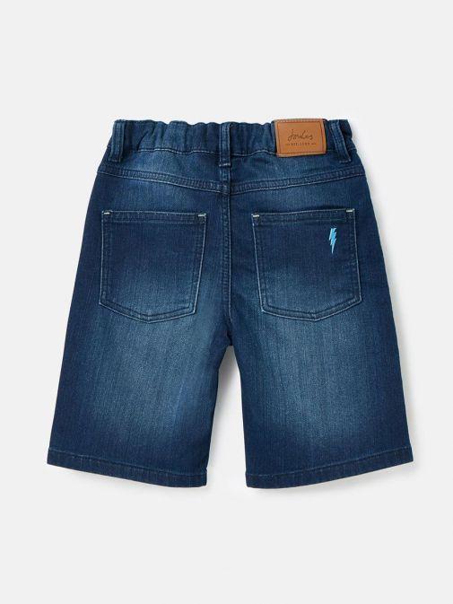 Back shot of Joules Brandon Jersey Denim Shorts in Dark Wash for boys
