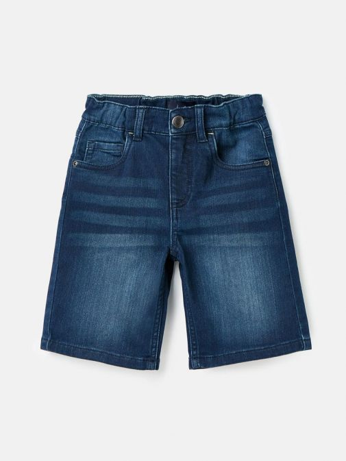 Front shot of Joules Brandon Jersey Denim Shorts in Dark Wash for boys