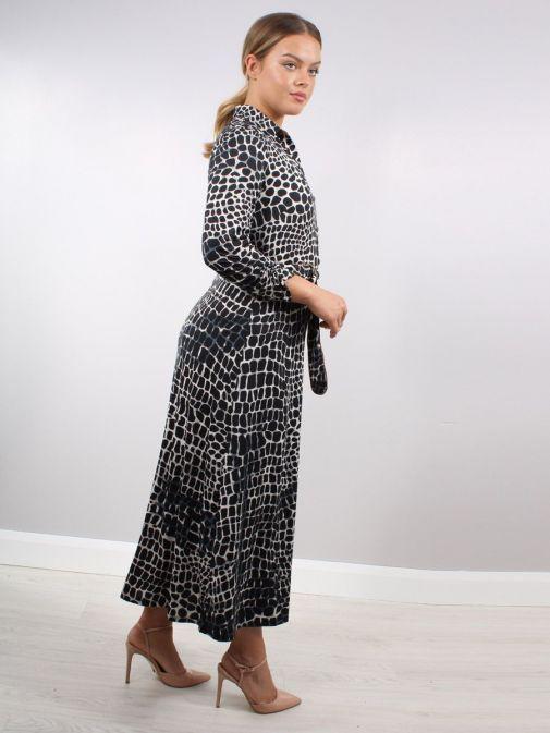Side shot of Model wearing K Design Animal Print Maxi Dress in Black