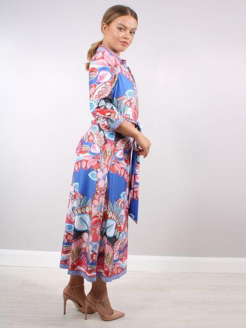 Side shot of Model wearing K Design Mediterranean Flower Print Maxi Dress in Multi Colours