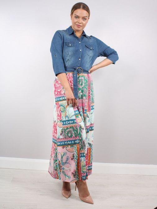 Model wearing K Design Denim Flower Print Maxi Dress in multi-color