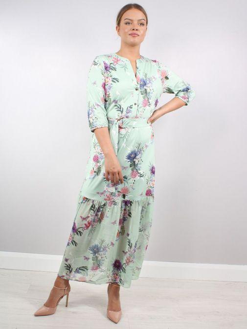 Model wearing K Design Flower Print Maxi Dress in Green