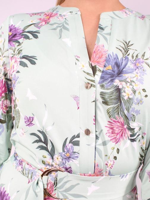 Close up shot of Model wearing K Design Flower Print Maxi Dress in Green