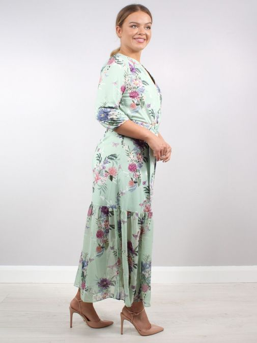 Side shot of Model wearing K Design Flower Print Maxi Dress in Green