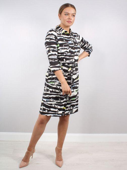 Model wearing K Design Graffiti Print Shirt Dress in Multi