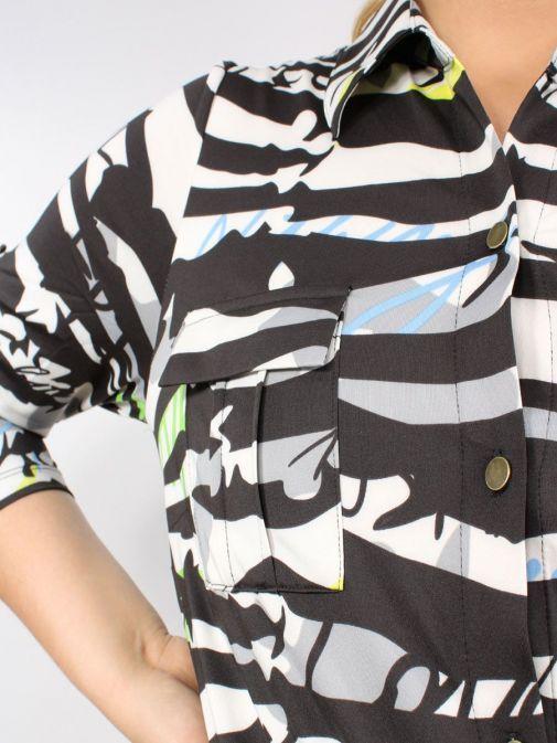 Close up of Model wearing K Design Graffiti Print Shirt Dress in Multi