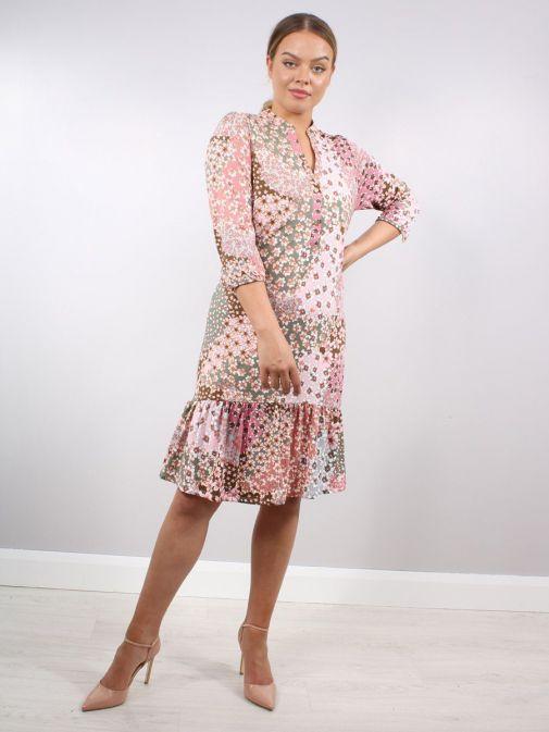 Model wearing K Design Meadow Flower Print Dress in Pink