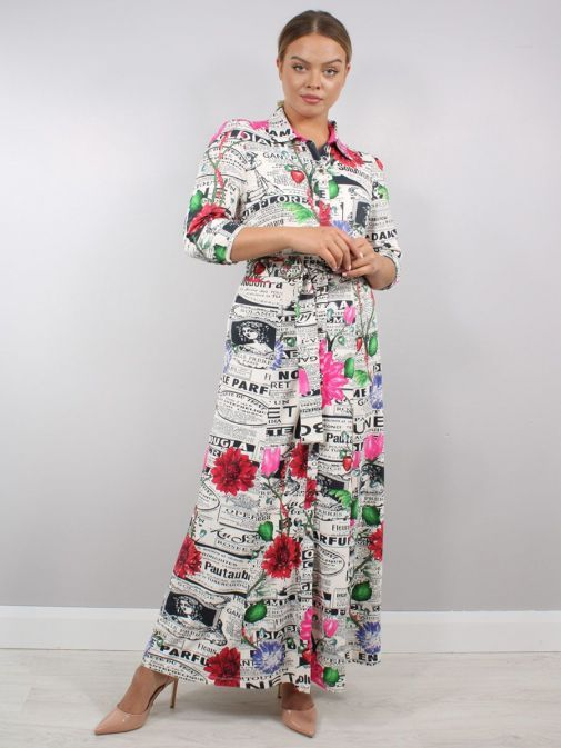 Model wearing K Design Newspaper Print Maxi Dress in Multi-Colour