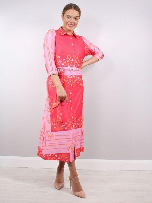 Front shot of model wearing K Design Paisley Print Midi Dress in Pink