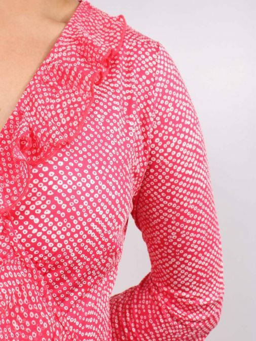 Close up of Model wearing K Design Ruffle Detail Midi Dress in Red