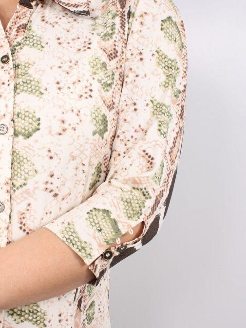 Close up shot of Model wearing K Design Snake Print Maxi Dress in Nude