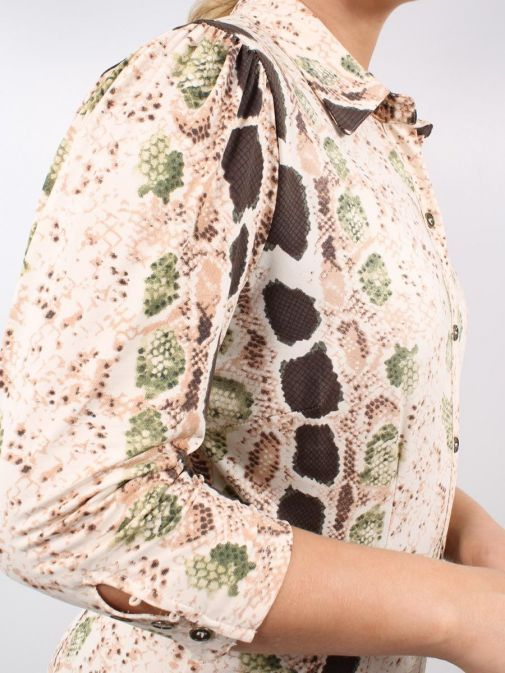 Alternative close up shot of Model wearing K Design Snake Print Maxi Dress in Nude